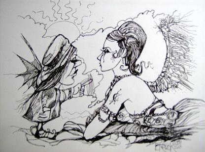 Angel Ink Witch Bat Wings Drawing - Strange Little Girl by Jackie Rock