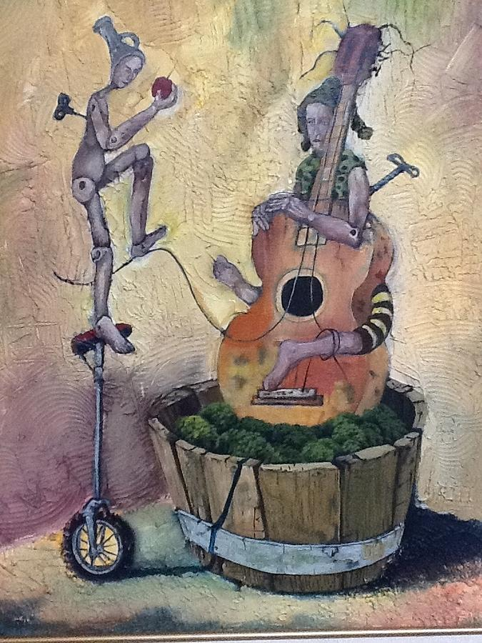Guitar Painting - Strange Melody For A False Event by Carlos Rodriguez Yorde