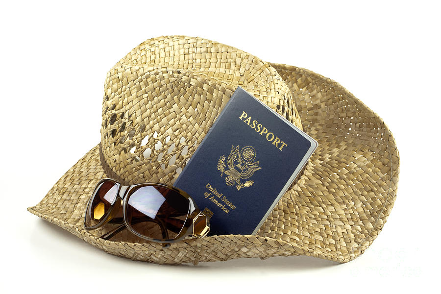 Hat Photograph - Straw Hat With Glasses And Passport by Blink Images