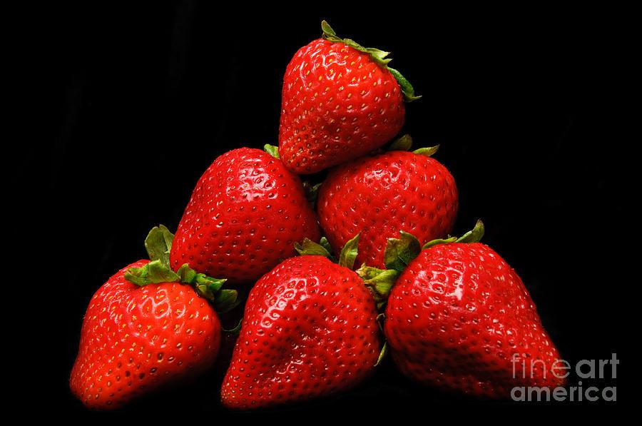 Strawberries On Velvet Photograph - Strawberries On Velvet by Andee Design