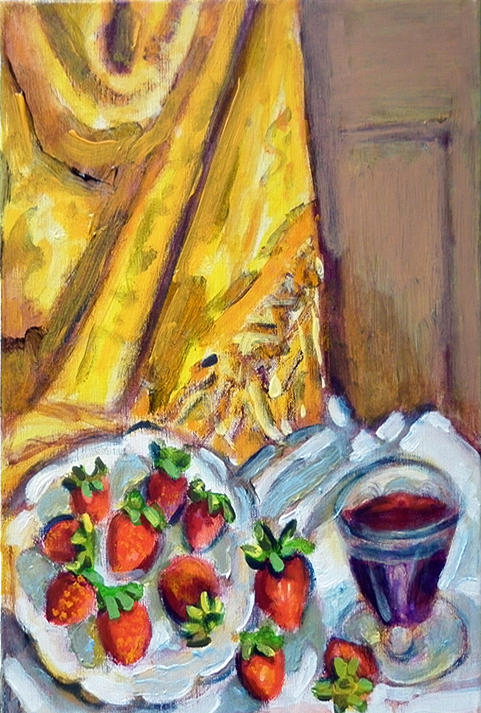 Yellow Painting - Strawberry And Wine Glass by Chevassus-agnes Jean-pierre