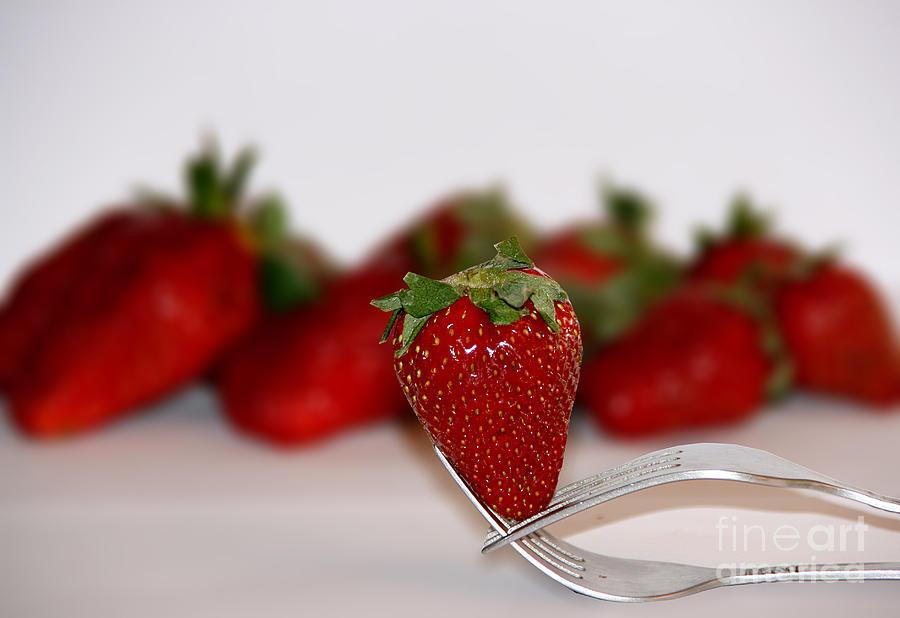 Apples Pyrography - Strawberry On Spoon by Soultana Koleska