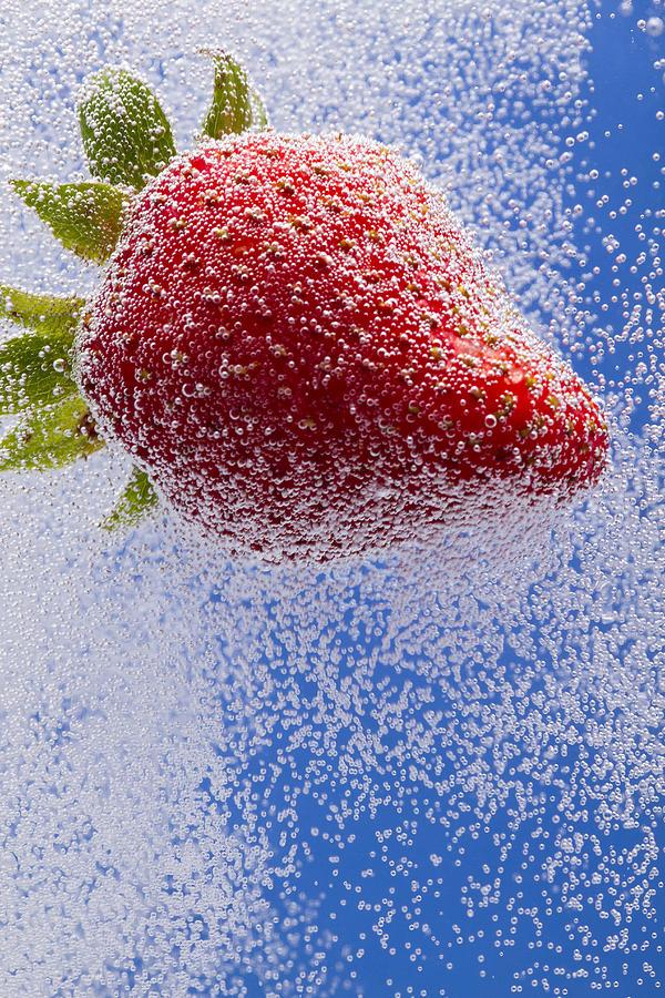 Red Photograph - Strawberry Soda Dunk 2 by John Brueske