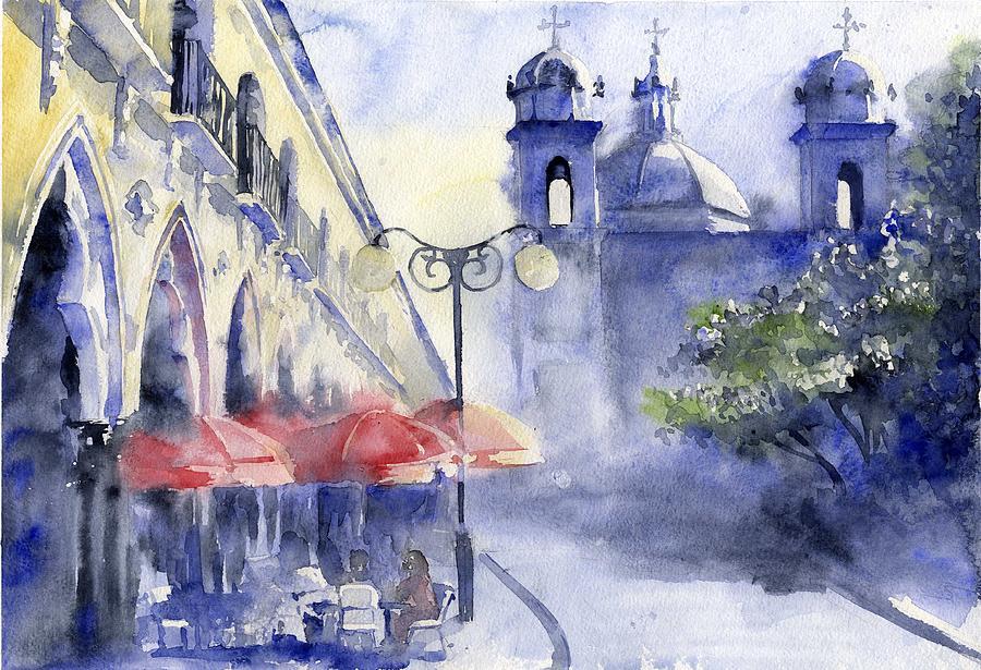 Watercolor Painting - Street Cafe by Tania Vasylenko