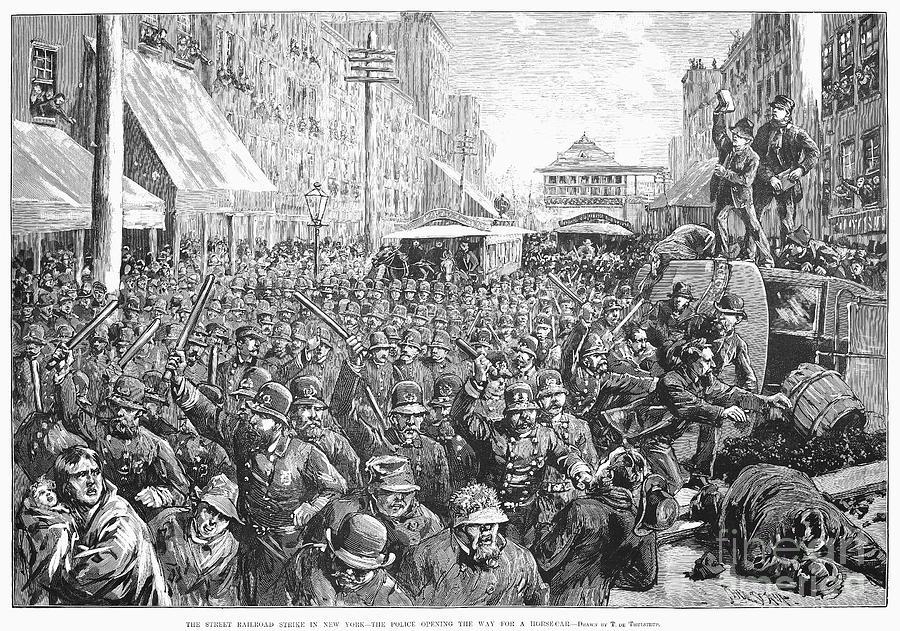 1886 Photograph - Street Car Strike, 1886 by Granger