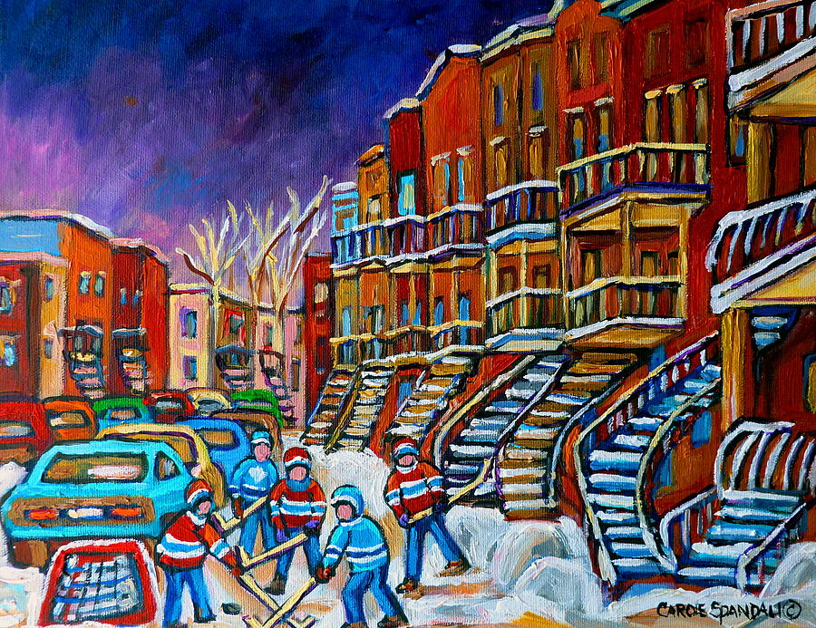 Montreal Painting - Street Hockey Game In Winter by Carole Spandau