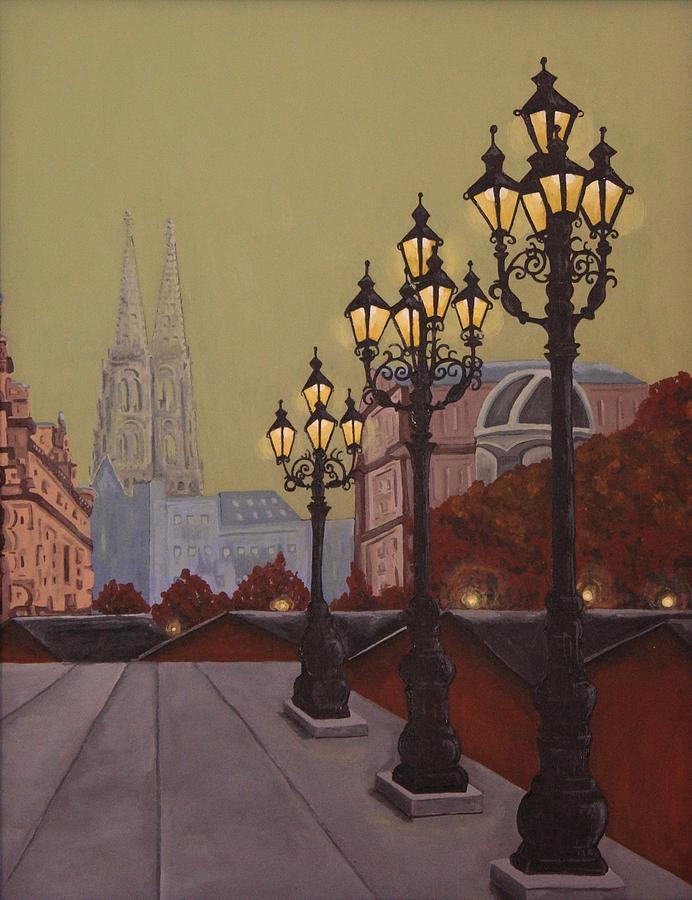 Street Painting - Street Lamps by Jennifer Lynch