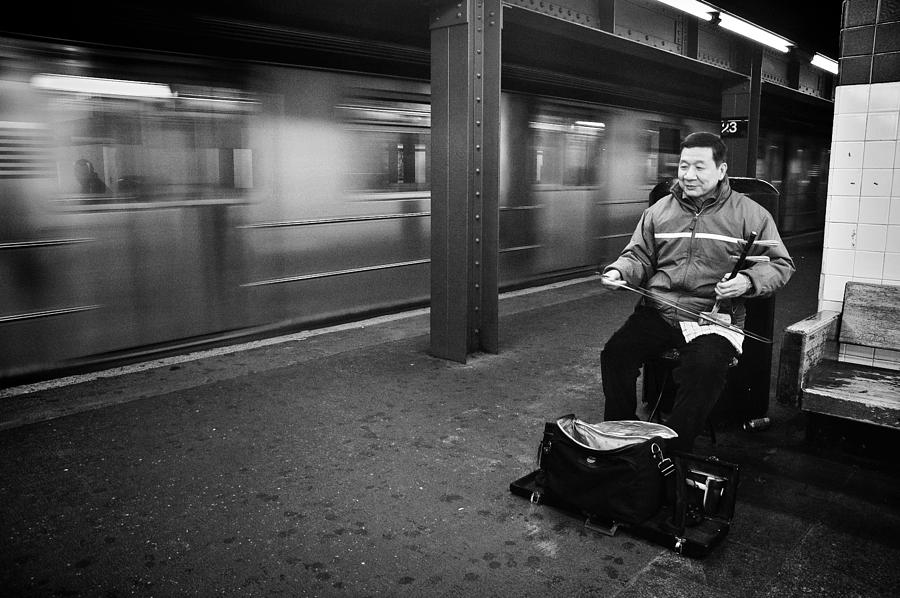 New York Photograph - Street Musician In Subway Station In New York City by Ilker Goksen