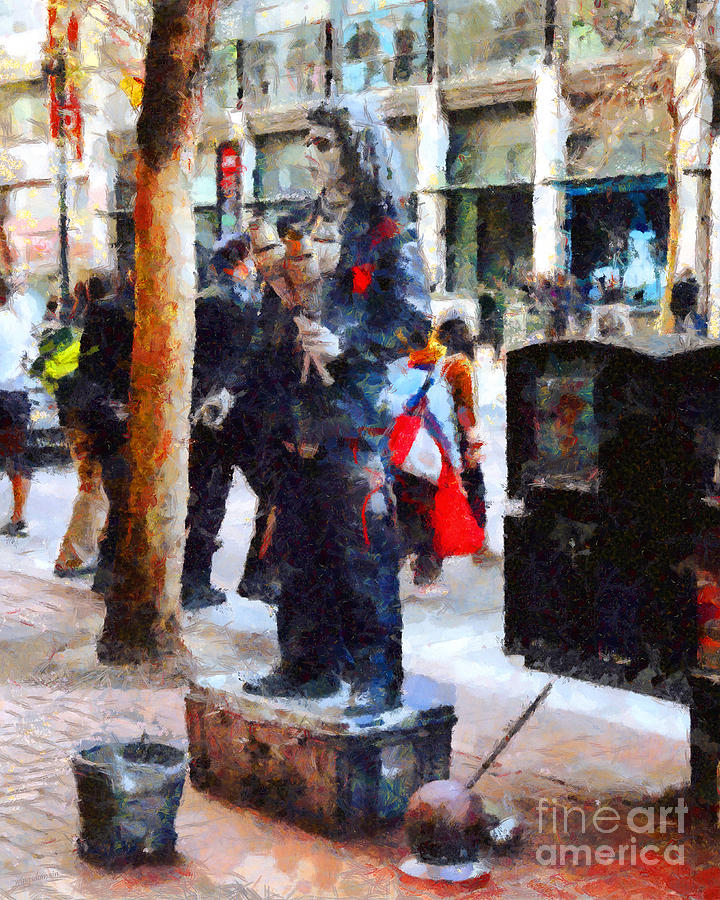 San Francisco Photograph - Street Performer In Downtown San Francisco . 7d4246 by Wingsdomain Art and Photography