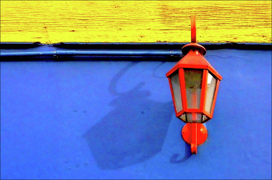 Horizontal Photograph - Streetlamp With Primary Colors by by Felicitas Molina