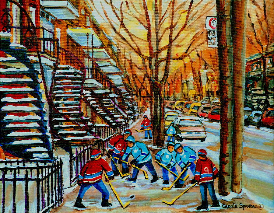 Streets Of Verdun Hockey Paintings By Montreal Artist Carole Spandau Painting - Streets Of Verdun Hockey Art Montreal City Scenes With Winding Staircases And Row Houses by Carole Spandau