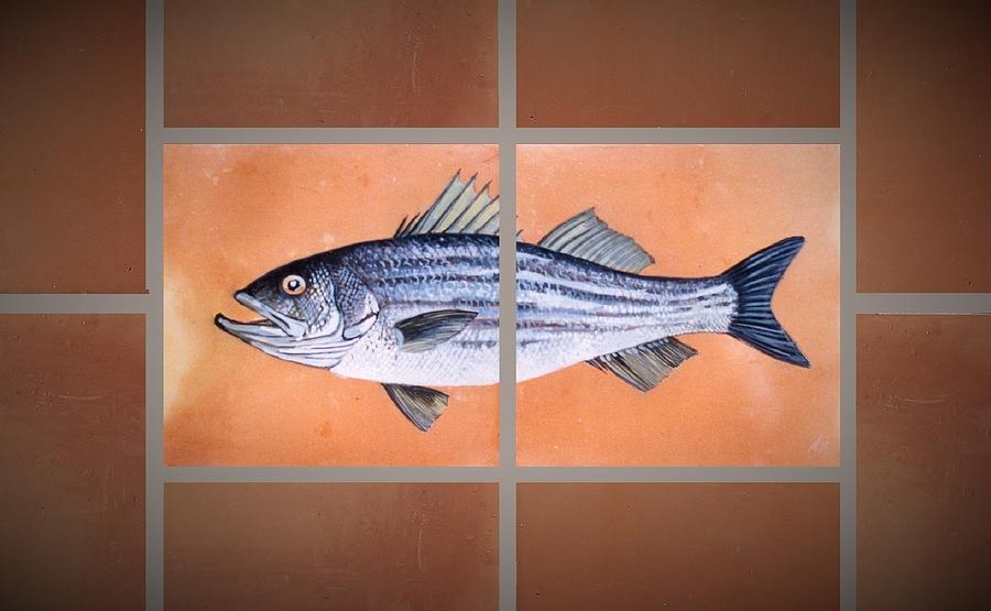 Fish On Hand Made Terracotta Tiles Painting - Striped Bass by Andrew Drozdowicz