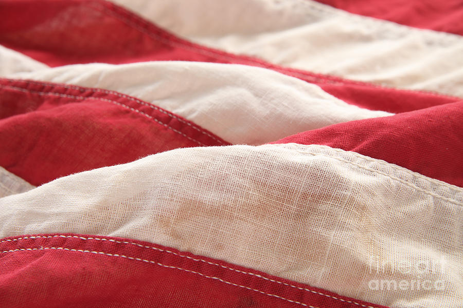 Flag Photograph - Stripes Of An Old American Flag by Ruby Hummersmith