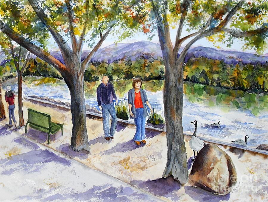 Strolling Painting - Strolling Virginia Lake by Vicki  Housel