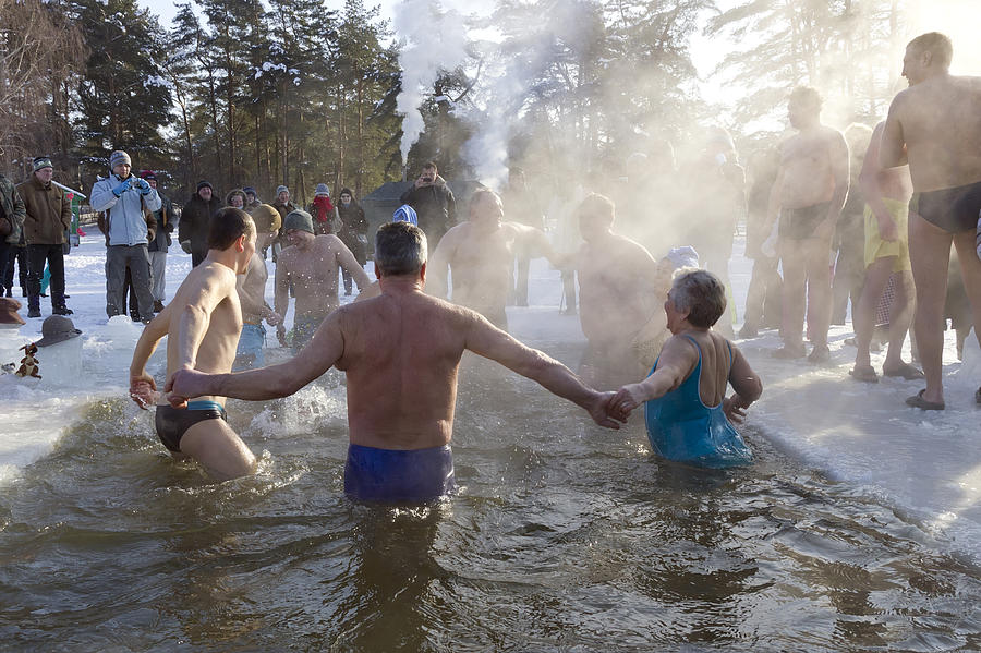Cold Photograph - Strong People In Ice Water by Aleksandr Volkov