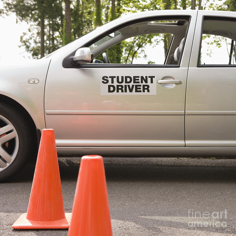 student driver car and traffic cones photograph by andersen ross. Black Bedroom Furniture Sets. Home Design Ideas