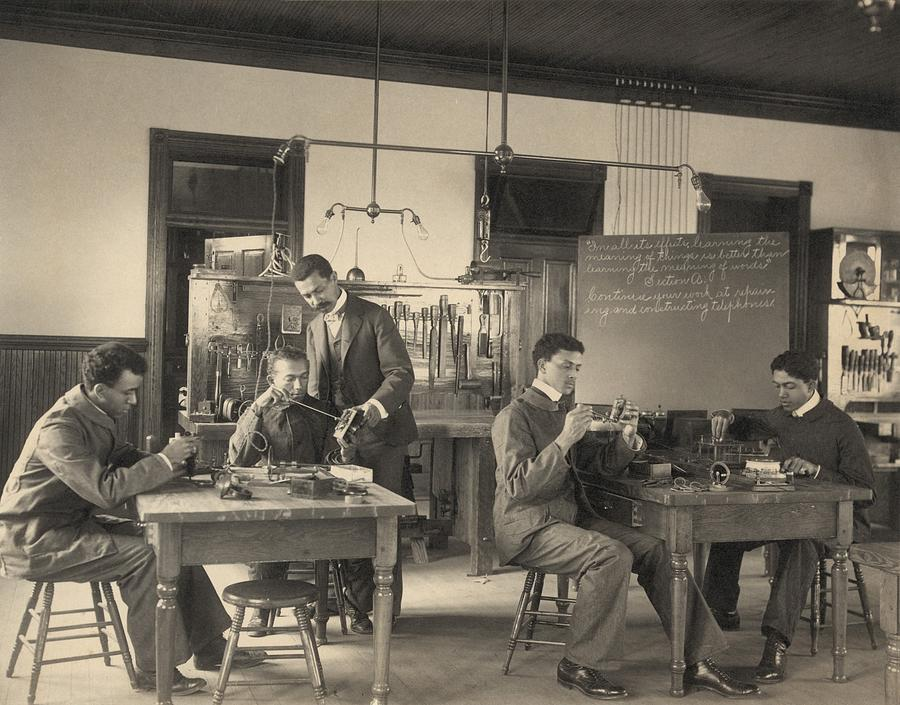 History Photograph - Students Constructing Telephones by Everett