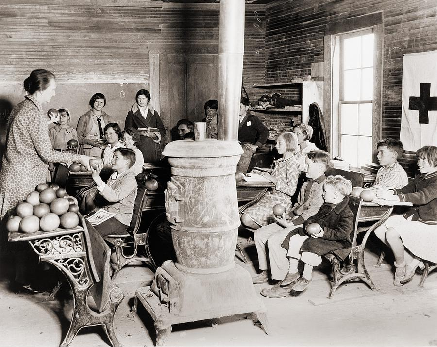 Historical Photograph - Students In A One-room School by Everett