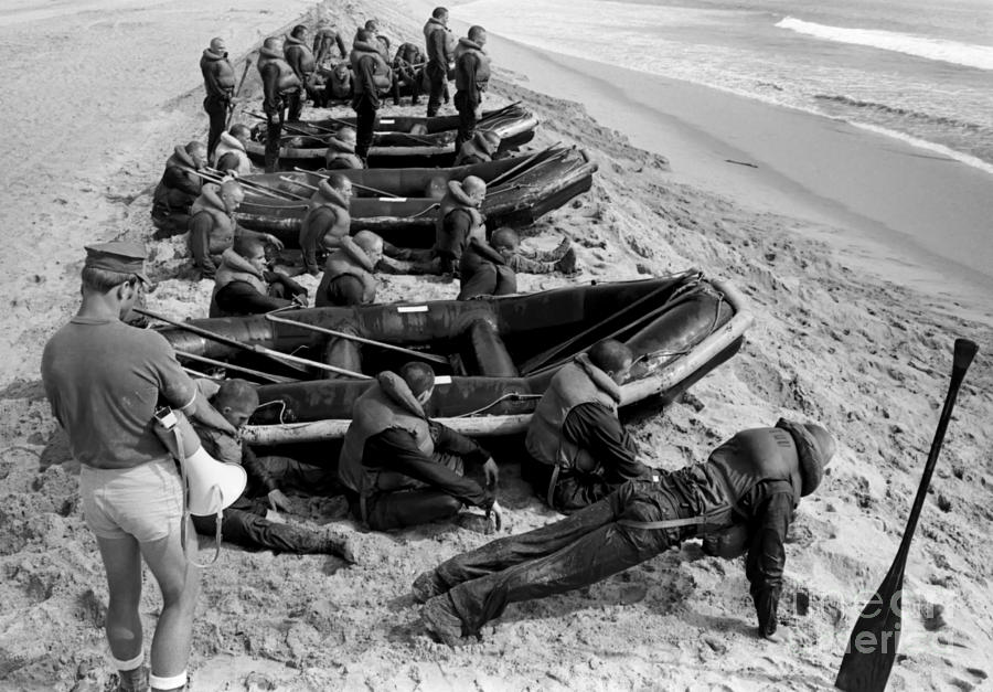 Military Photograph - Students Wait By Their Inflatable by Michael Wood