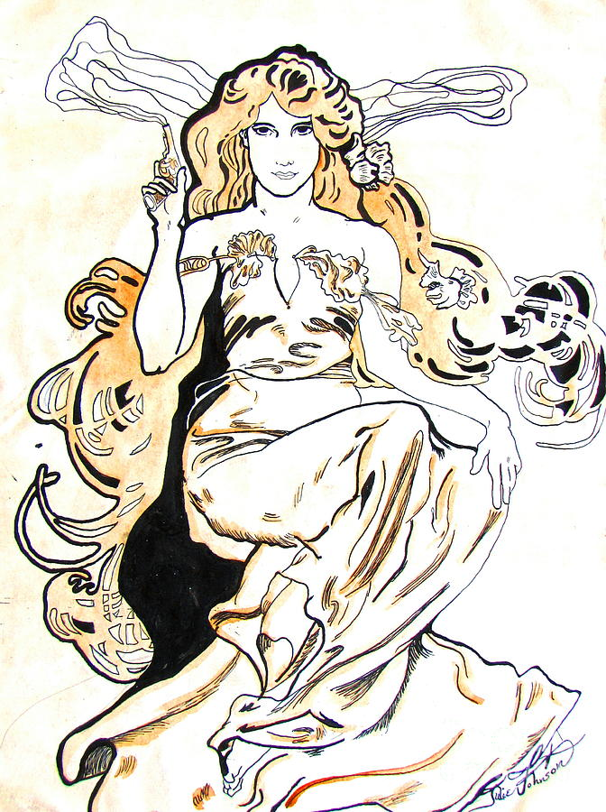 Study Of Art Nouveau After Mucha Drawing by Julie Coughlin