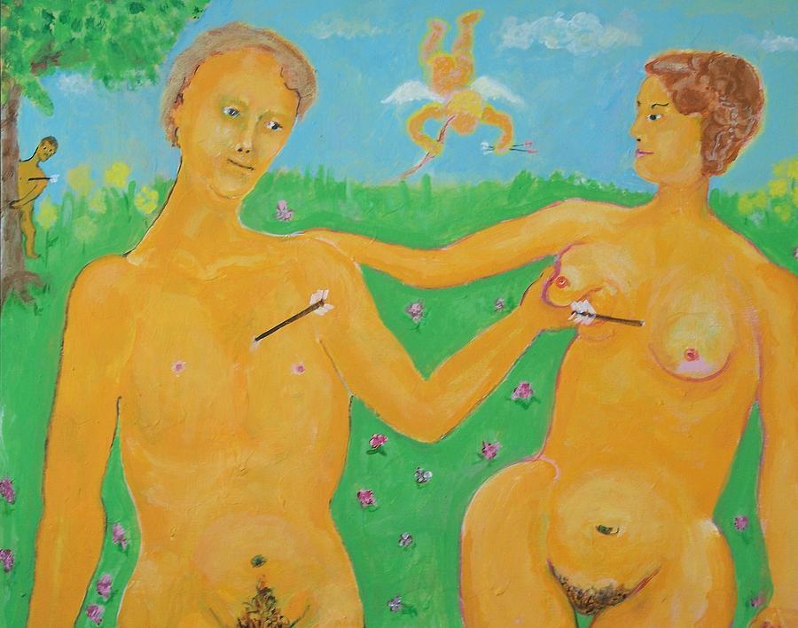 Cupid Painting - Stupid Cupid - Cupid You Boob by Jay Manne-Crusoe
