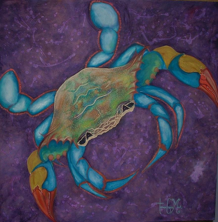 Crab Painting - Stylized Blue Crab On Distressed Violet by Teresa Grace Mock