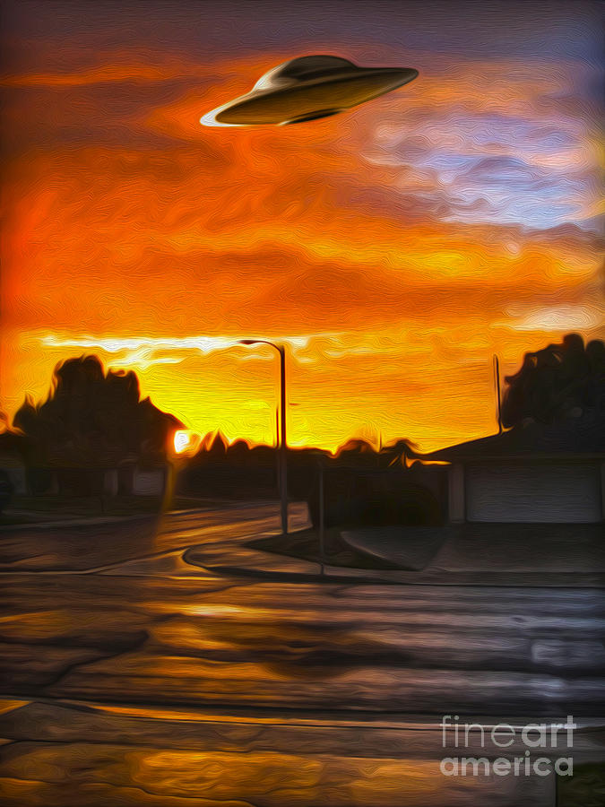Suburban Painting - Suburban U.f.o. Sighting  by Gregory Dyer