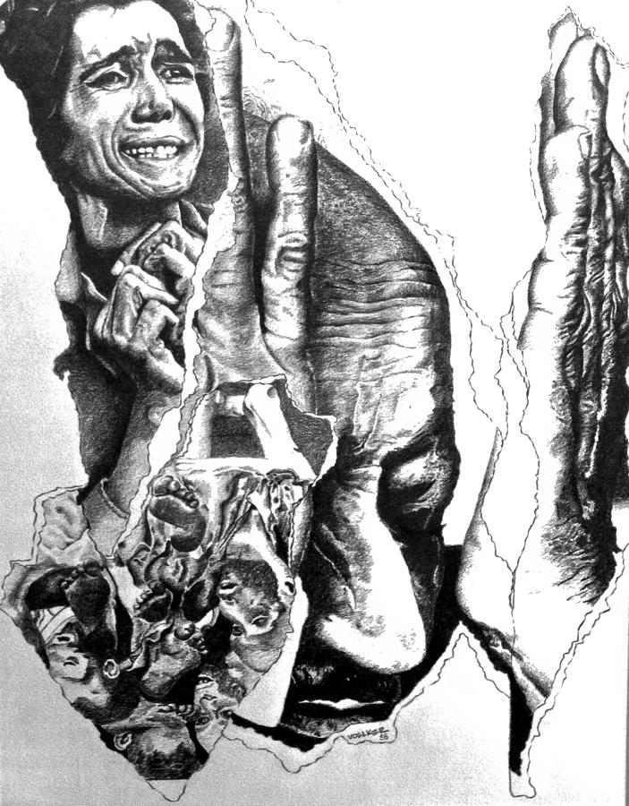 Holocaust Drawing - Suffering-holocaust by Tj Voelker