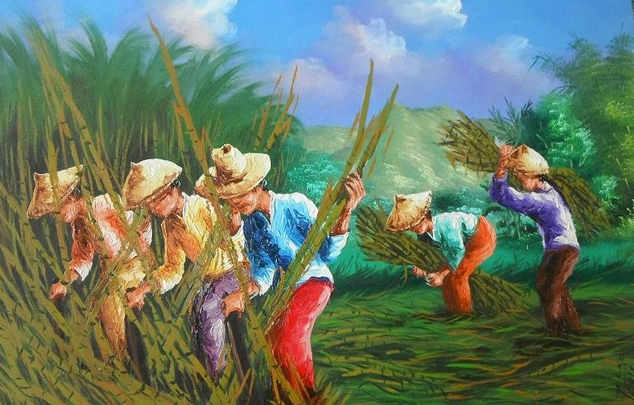 Sugar Canes Painting - Sugar Cane Harvest by Pretchill Smith