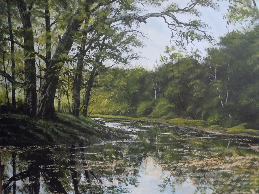 Landscape Paintings Painting - Summer Creek Reflections by James Guentner