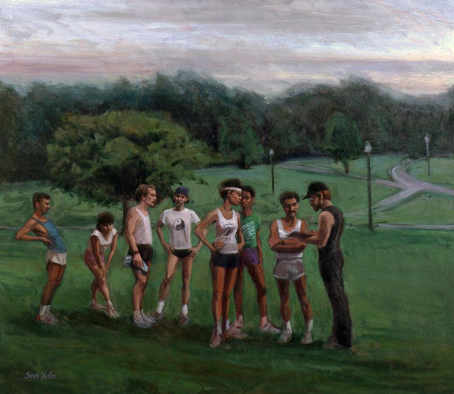 Runners Painting - Summer Evening Meet by Sarah Yuster