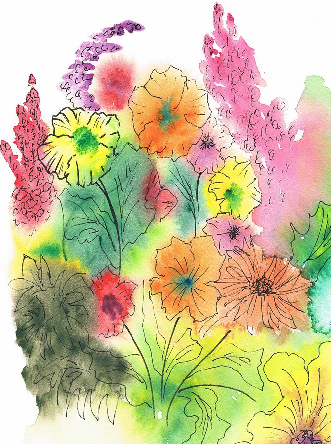 Watercolor Painting - Summer Garden by Christine Crawford