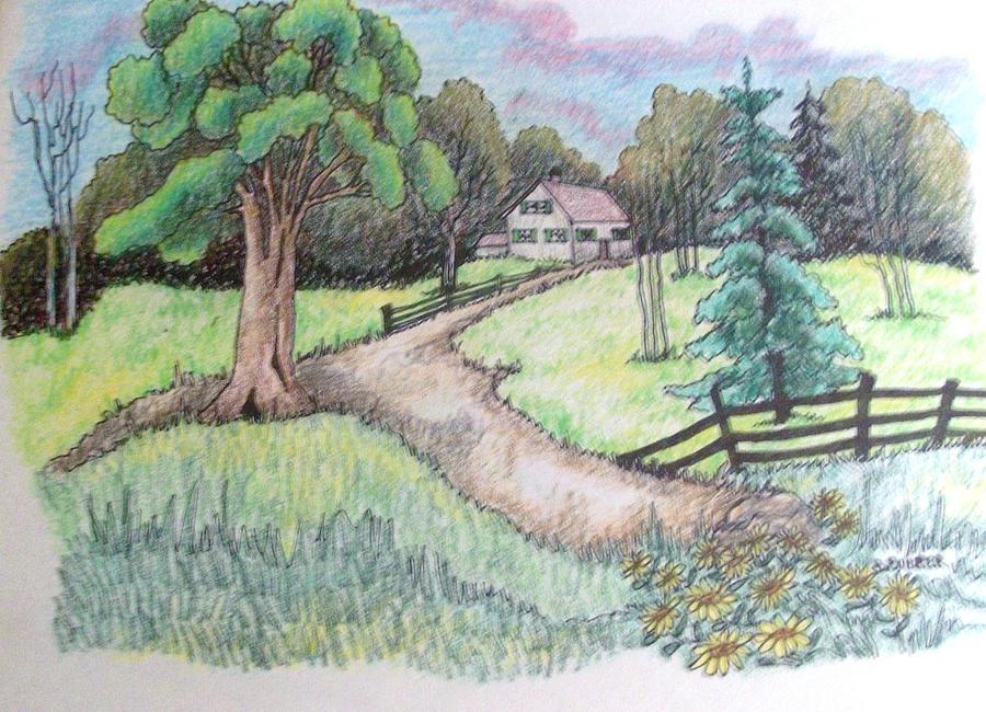 Картинки пейзаж лето карандашом