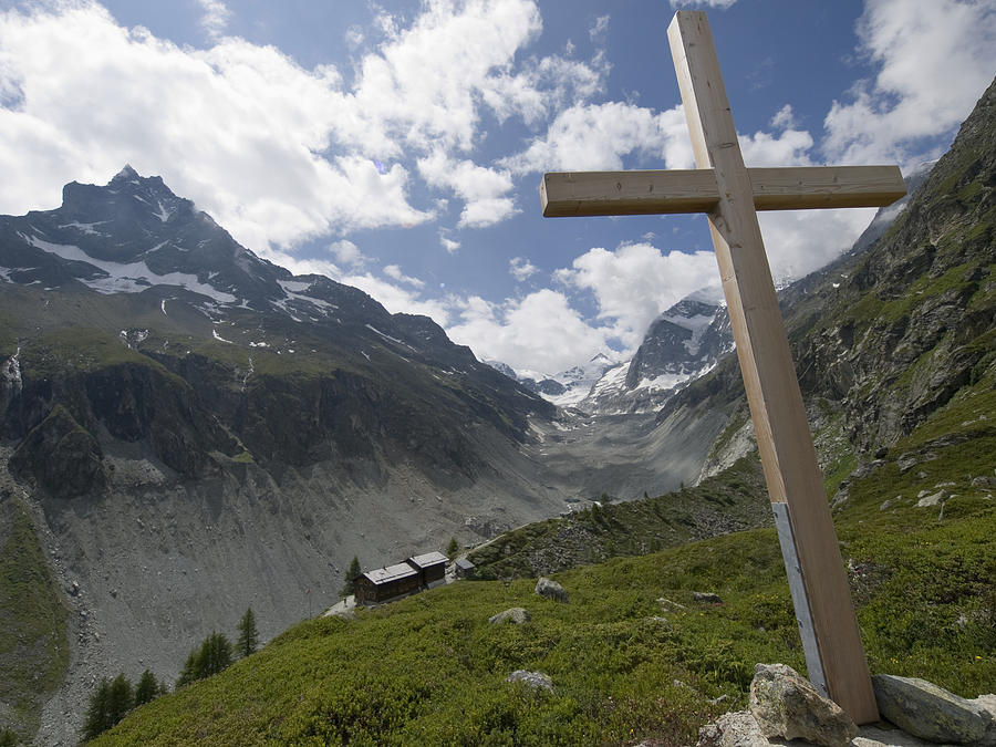 Switzerland! Swiss Photograph - Summer In The Mountains. The Cross by Axiom Photographic