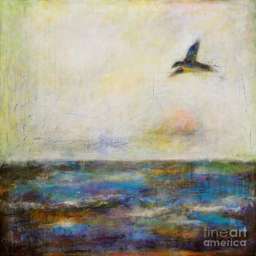 Abstract San Francisco Bay Painting - Summer Series The Fog Is Setting In by Johane Amirault