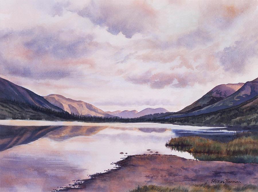 Lake Painting - Summit Lake Evening Shadows by Sharon Freeman