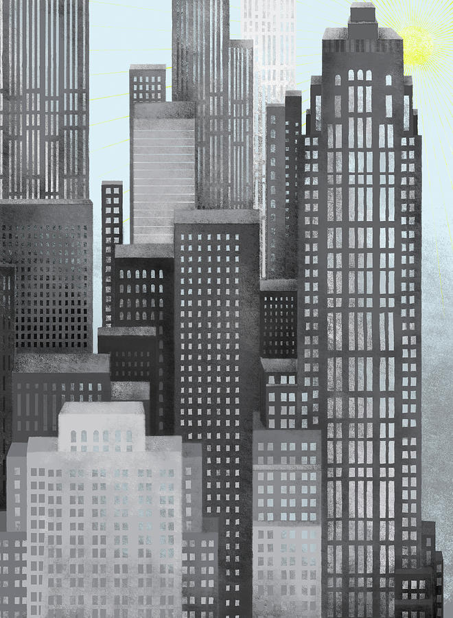 Vertical Digital Art - Sun And Skyscrapers by Jutta Kuss