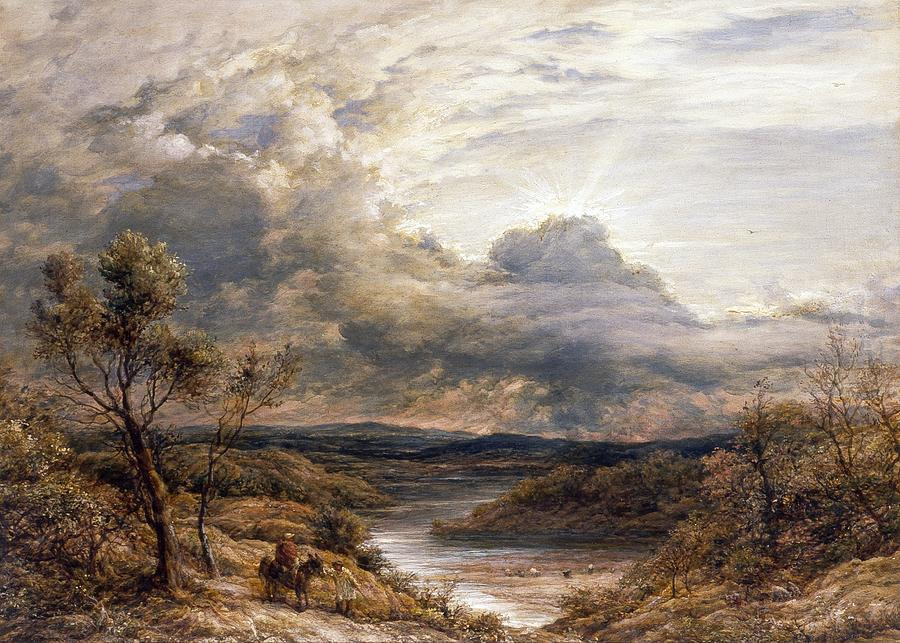 Landscapes Painting - Sun Behind Clouds by John Linnell