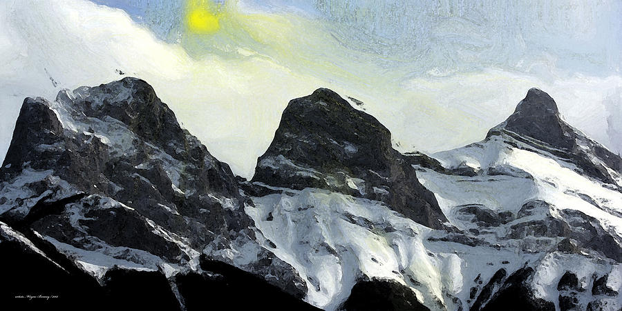 Three Sisters Painting - Sun Breaking Through by Wayne Bonney