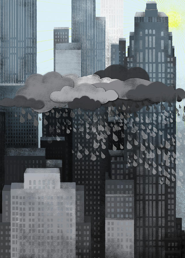 Vertical Digital Art - Sun Coming Out During A Thunderstorm by Jutta Kuss