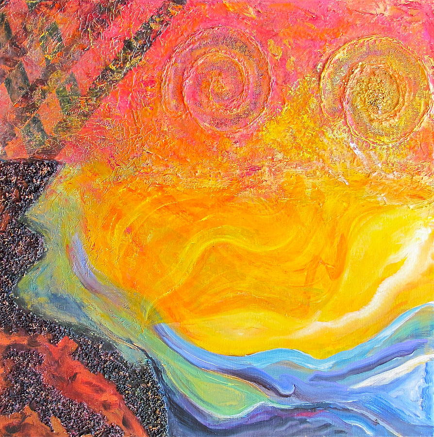 Sun Fire Water Painting By Joe Bourne
