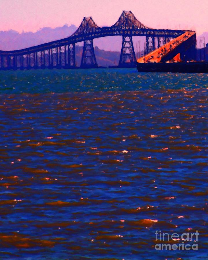 San Francisco Photograph - Sun Setting Beyond The Richmond-san Rafael Bridge - California - 5d18435 by Wingsdomain Art and Photography