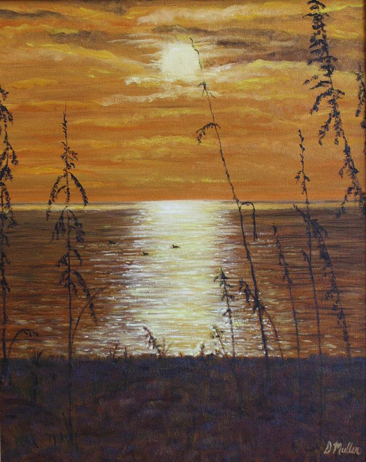 Sun Set Painting - Sun Setting In Florida by Donna Muller