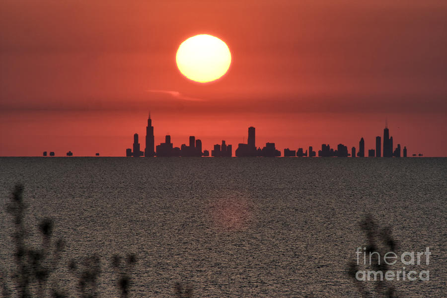Chicago Photograph - Sun Setting Over Chicago by Christopher Purcell