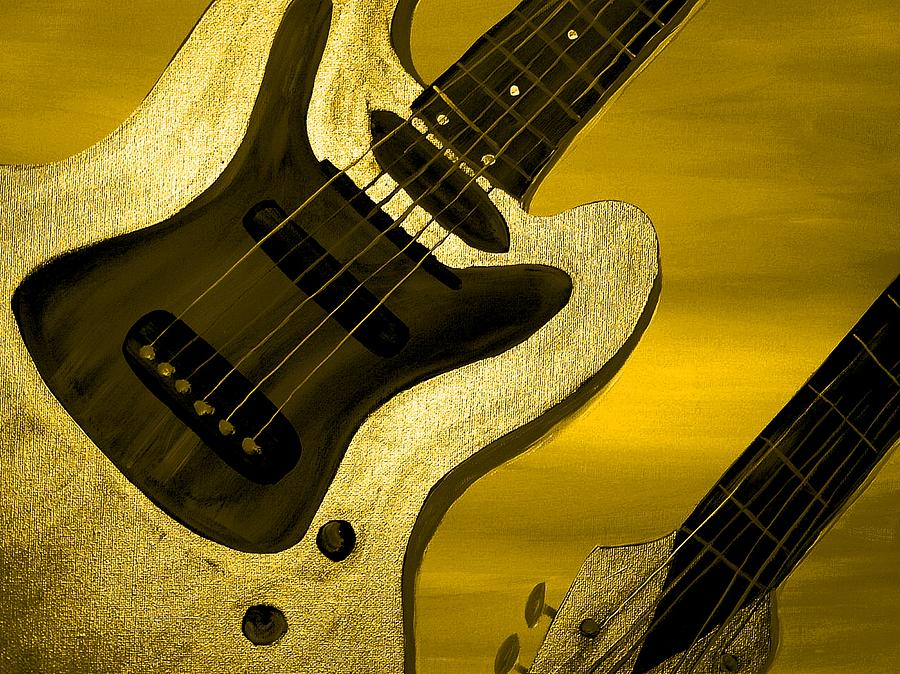 Music Painting - Sun Stained Yellow Electric Guitar by Mark Moore
