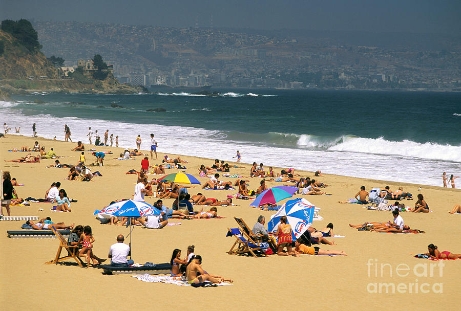 Chile Photograph - Sunbathers by David Frazier and Photo Researchers