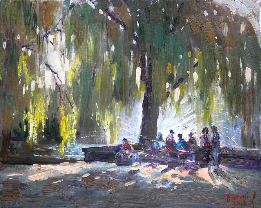Lake Shore Painting - Sunday Afternoon By The Fontain by Ylli Haruni