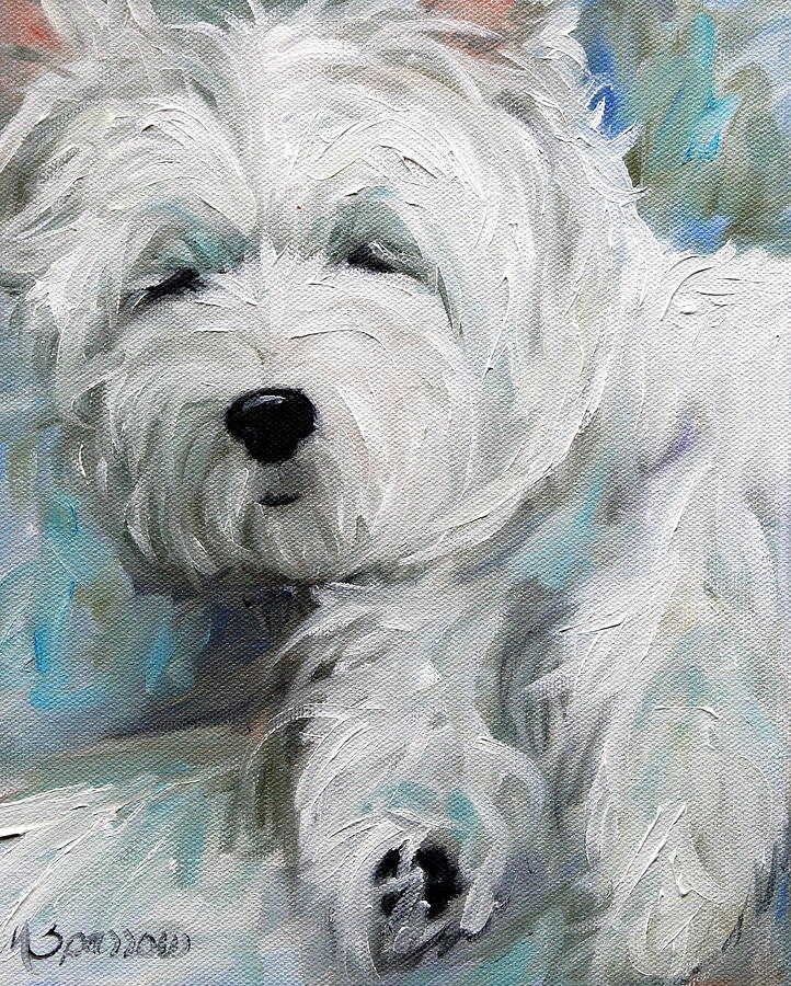 Westie Painting - Sunday Afternoon by Mary Sparrow