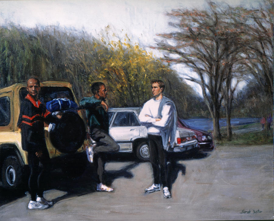 Runners Painting - Sunday Run by Sarah Yuster