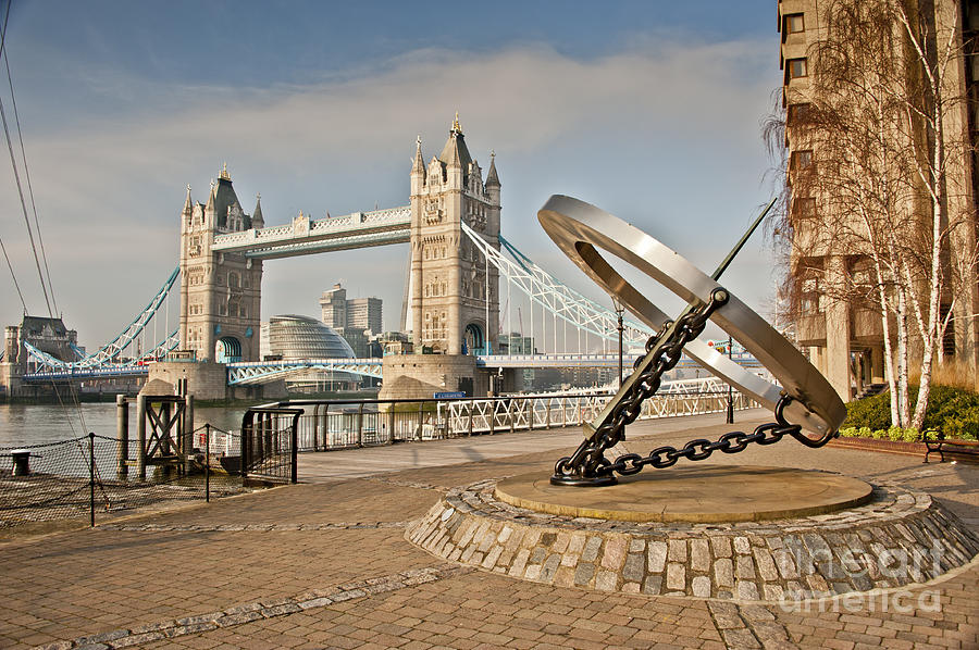 London Photograph - Sundial At Tower Bridge by Donald Davis